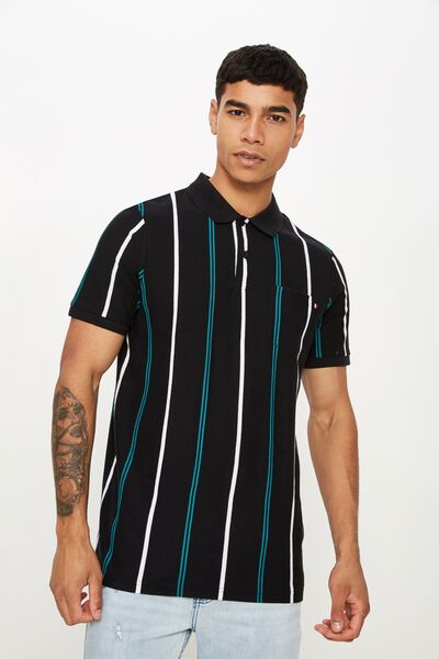 Icon Polo, BLACK WHITE TEAL STRIPE