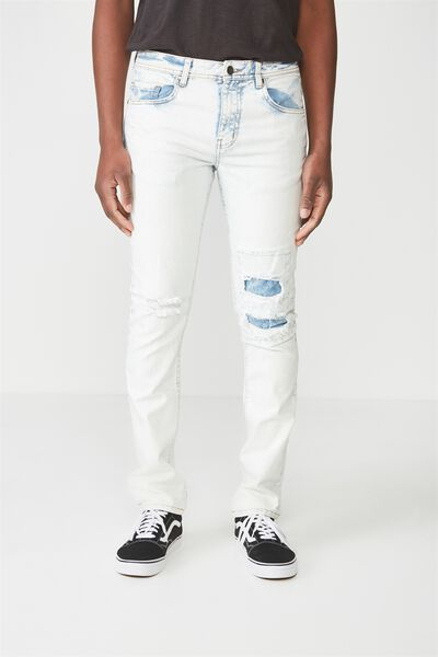 Slim Fit Jean, INDIGO BLEACH PATCH