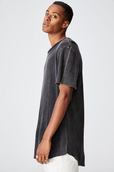 Longline Scoop Acid Waffle T-Shirt, BLACK