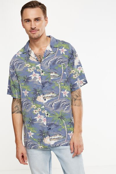 Vintage Prep Short Sleeve Shirt, ISLAND TIME PRINT
