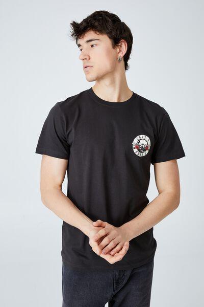 Tbar Collab Icon T-Shirt, LCN BRA WASHED BLACK/GUNS N ROSES - SKELETON