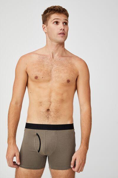 Mens Organic Cotton Trunks, DUSTY OLIVE/BLACK