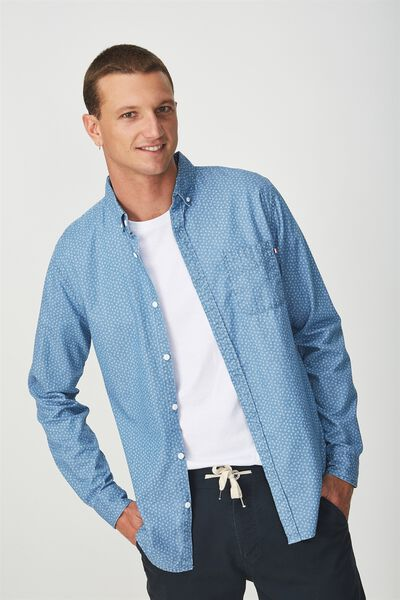 Brunswick Shirt 3, MID CHAMBRAY DIAMOND DITSY