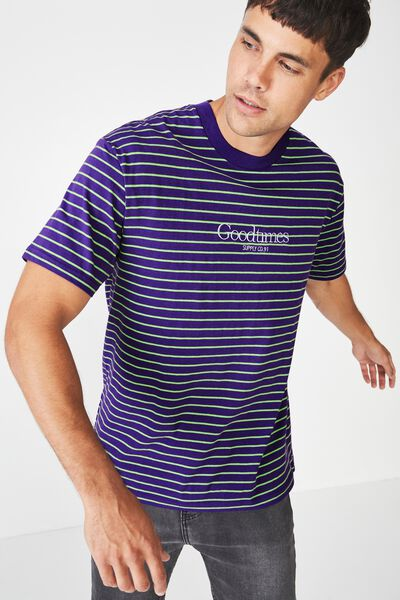 Downtown Loose Fit Tee, PRISM VIOLET/NEON GREEN STRIPE