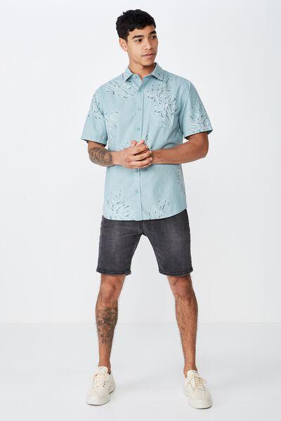 Short Sleeve Resort Shirt, MINT MONSTERA