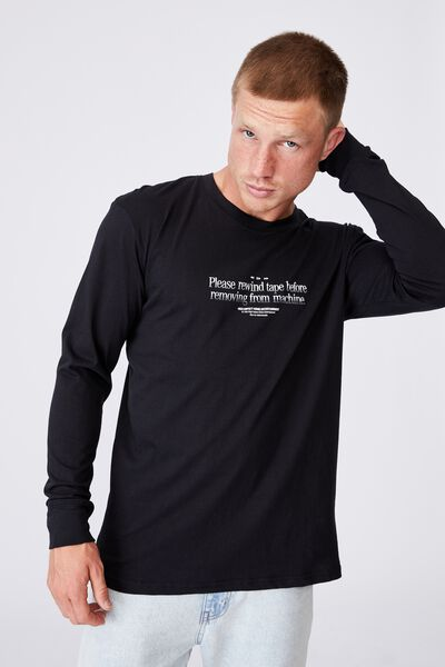 Tbar Long Sleeve T-Shirt, BLACK/PLEASE REWIND