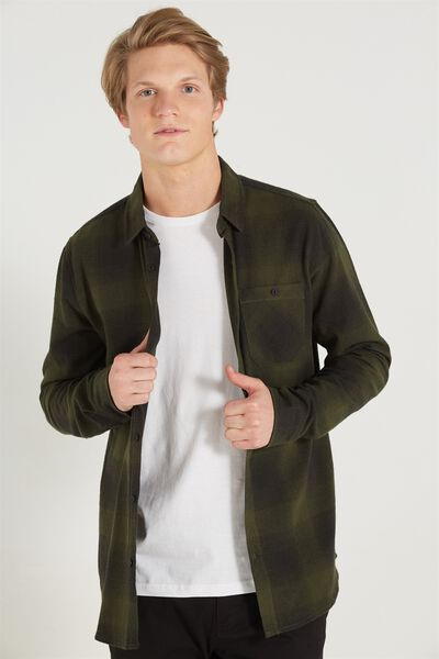 Rugged Long Sleeve Shirt, GREEN CHECK