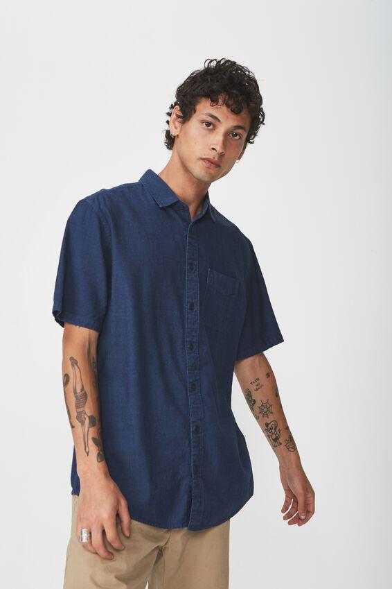 Vintage Prep Short Sleeve Shirt, MID BLUE SLUB CHAMBRAY
