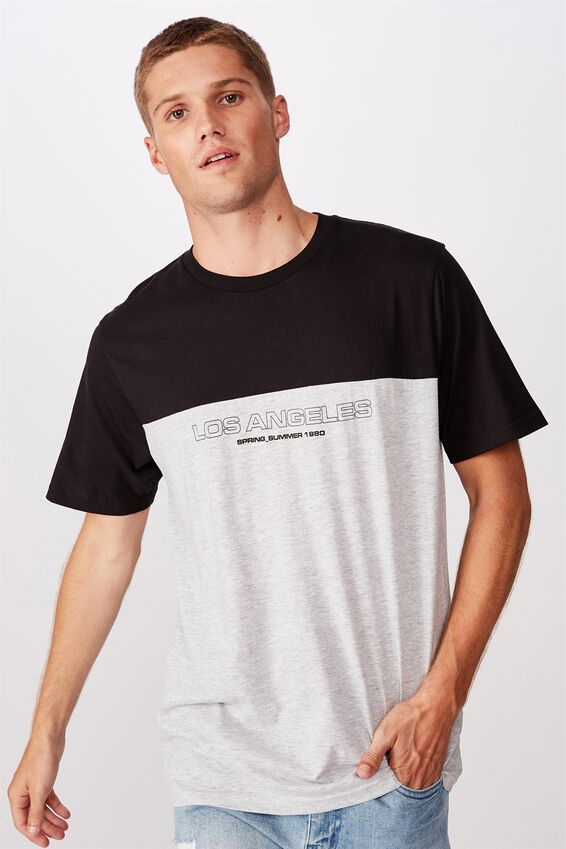 Tbar Street T-Shirt, BLACK/LIGHT GREY MARLE/LOS ANGELES 1980
