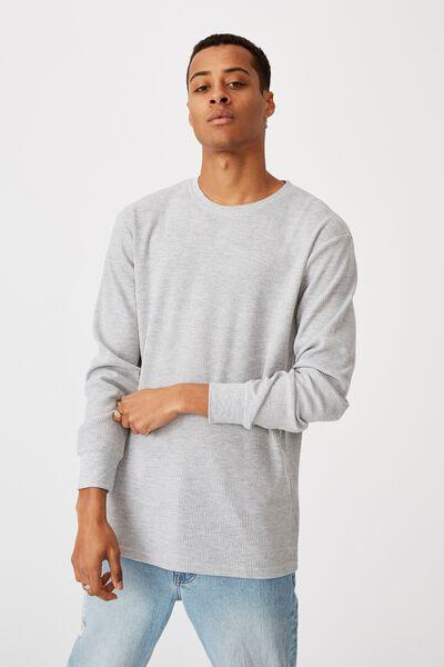 Waffle Long Sleeve T-Shirt, LIGHT GREY MARLE