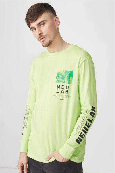 Tbar Long Sleeve, FLUORO GREEN/NUEUELAB CHEST