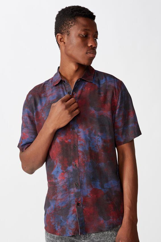 91 Short Sleeve Shirt, GRUNGE PLASMA DARK BLUE