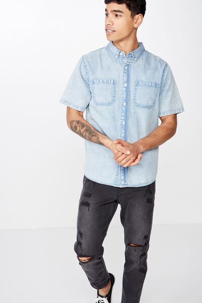 91 Short Sleeve Shirt, BLUE ACID
