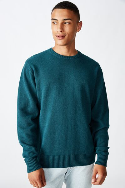Crew Knit, DEEP TEAL MARLE