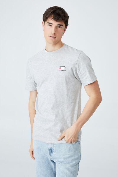 Tbar Art T-Shirt, LIGHT GREY MARLE/1% AWAKE
