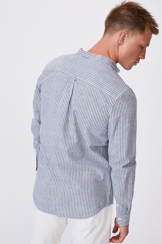 Banded Collar Shirt, NAVY WHITE STRIPE