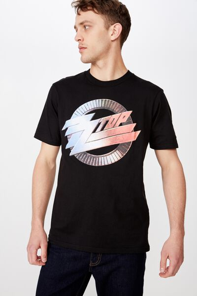 Tbar Collab Music T-Shirt, LCN EP SK8 BLACK/ZZ TOP - CHROME LOGO
