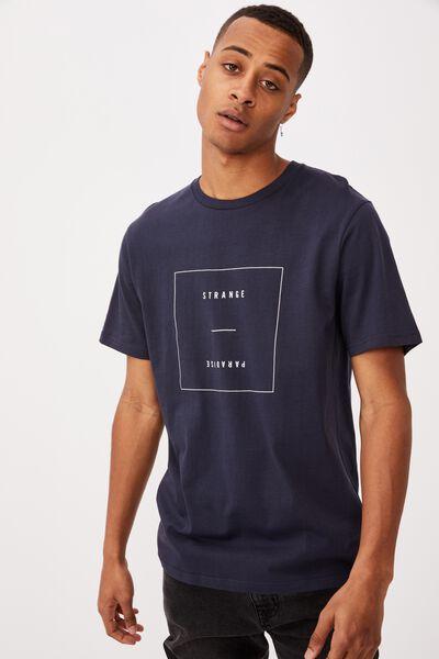 Tbar Text T-Shirt, TRUE NAVY/STRANGE PARADISE FLIPPED