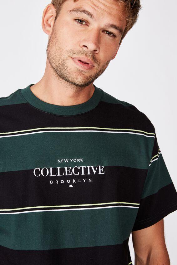 Downtown T-Shirt, GREEN BOLD STRIPE