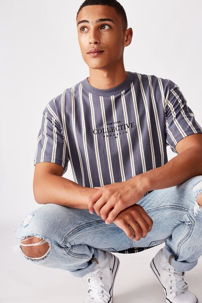 Downtown Loose Fit Tee, DUSTY DENIM THIN STRIPE
