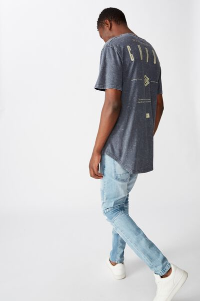Longline Scoop Hem Tee, LATE NIGHT BLUE CHAOS