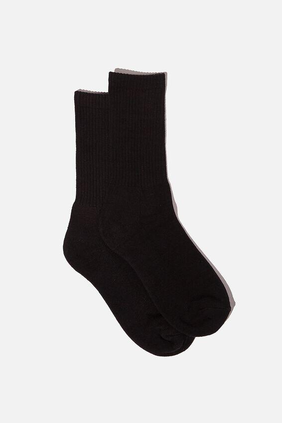 Essential Active Sock, BLACK SOLID