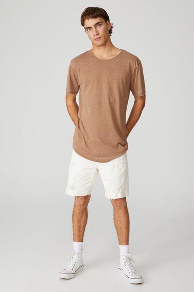Longline Scoop Burnout T-Shirt, TERRACOTTA
