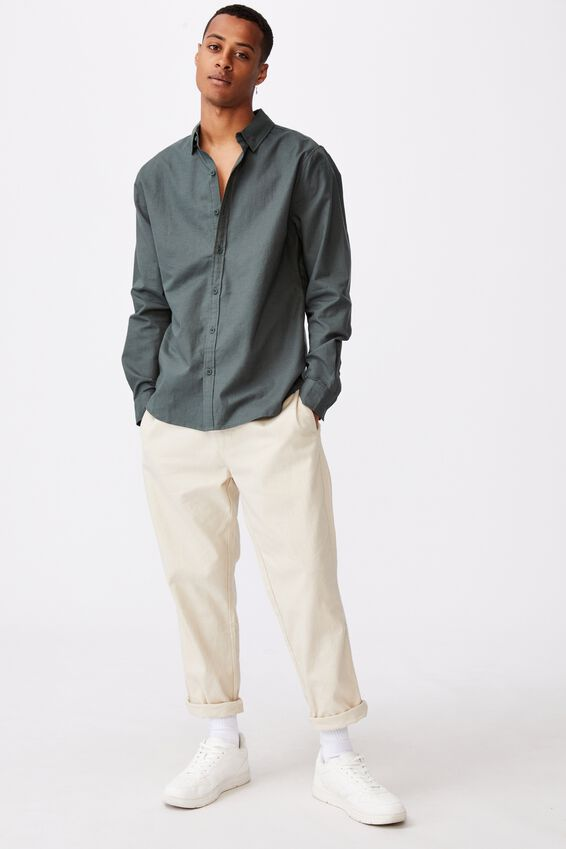 Linen Cotton Long Sleeve Shirt, PINE NEEDLE