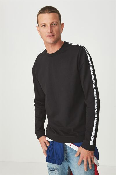 Drop Shoulder Crew Fleece, BLACK/UNTITLED NO 7