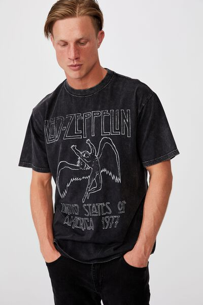 Special Edition T-Shirt, LCN LED WASHED BLACK/LED ZEPPELIN-ICARUS LOGO