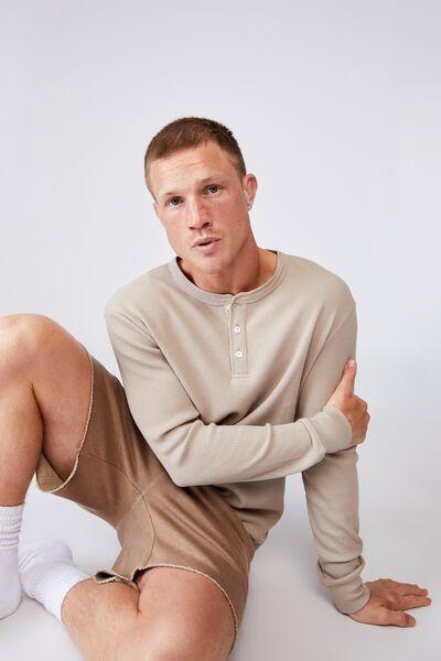 Henley Waffle Long Sleeve T-Shirt, GRAVEL STONE