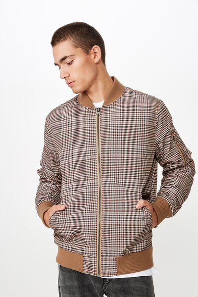 Airforce Bomber Jacket, BROWN CHECK