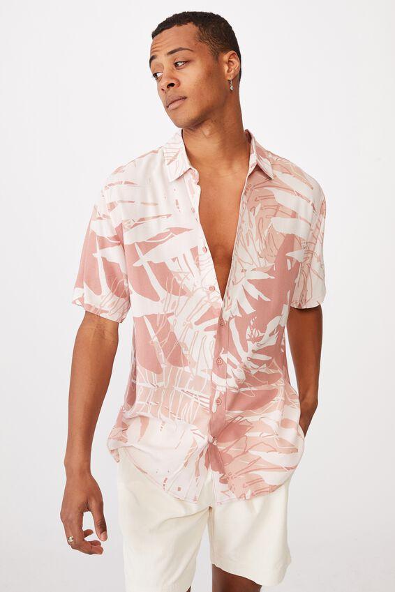 Short Sleeve Resort Shirt, WASHED RED SPLICED FLORAL