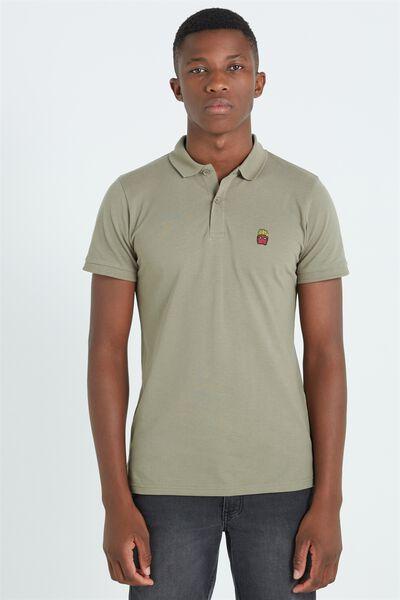 Short Sleeve Icon Polo, KHAKI/FRIES