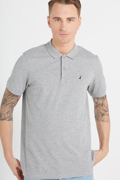 Short Sleeve Icon Polo Regular Fit, GREY MARLE/ YACHT