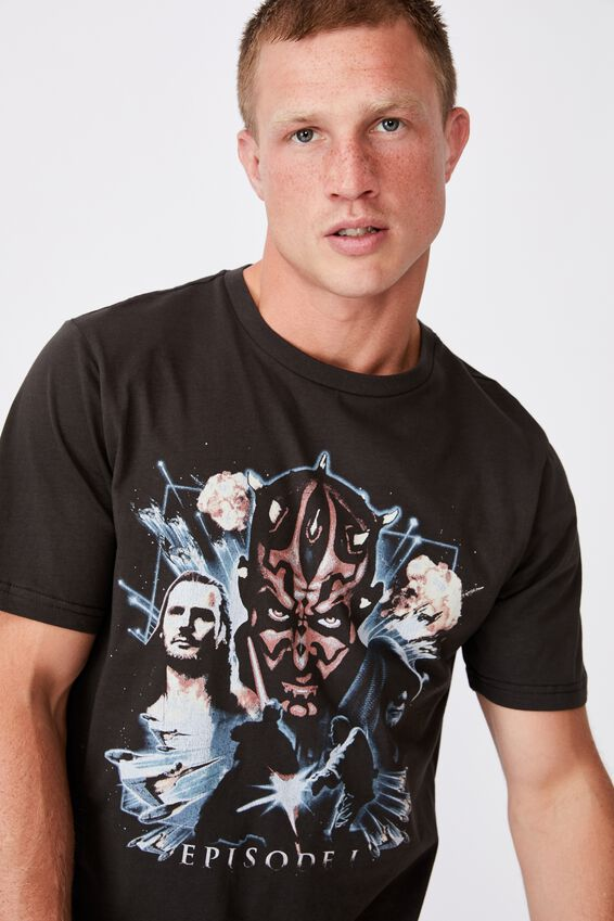 Tbar Collab Movie And Tv T-Shirt, LCN DIS WASHED BLACK/STAR WARS-EPISODE 1