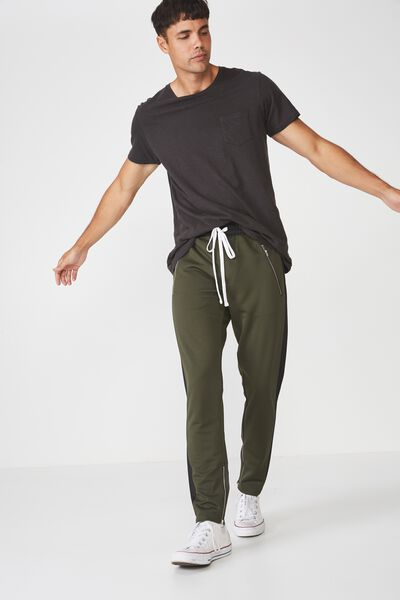 Urban Side Stripe Track Pant, OLIVE / BLACK PANEL