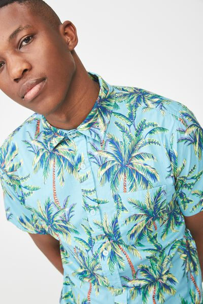 Short Sleeve Resort Shirt, BRIGHT BLUE PALM