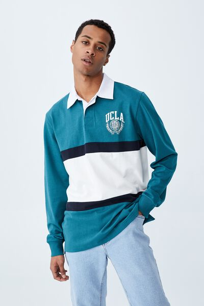 Rugby Collab Long Sleeve Polo, LCN UCL DARK TEAL/UCLA MID PANEL