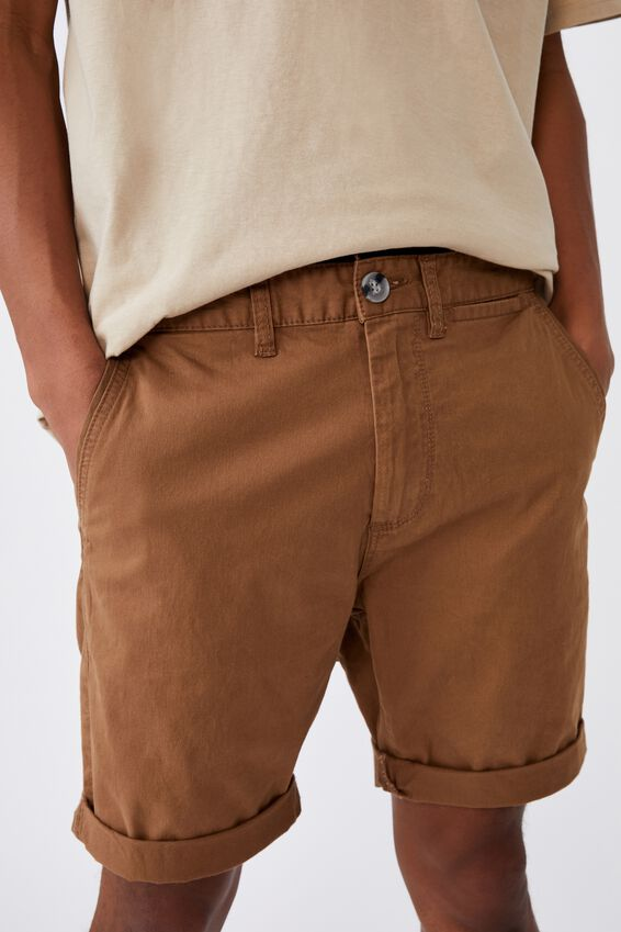 Washed Chino Short, BISCUIT