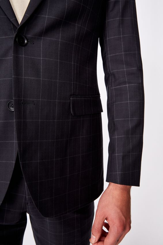 Fashion Slim Stretch Suit Jacket, BLACK GRID CHECK