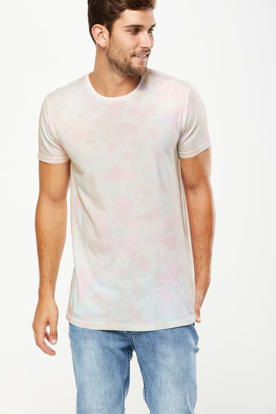 Longline Scoop Hem Tee, WASHED WHITE/TIE DYE
