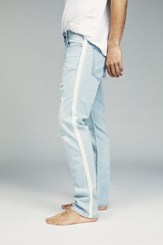 Slim Fit Jean, DISTRESSED BLUE + SIDE STRIPE