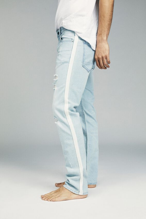 Slim Fit Jean, DISTRESSED BLUE + SIDE STRIPE