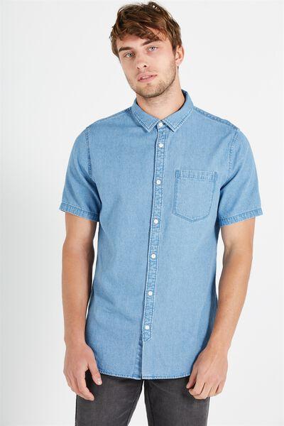 91 Short Sleeve Shirt, MID BLUE DENIM