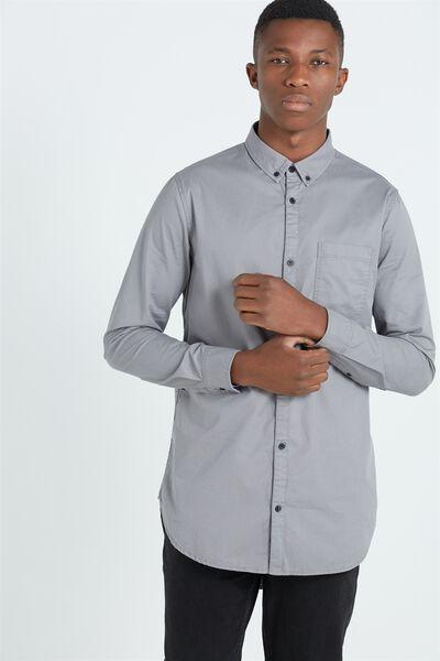 Ae Long Sleeve Longline Shirt, GREY
