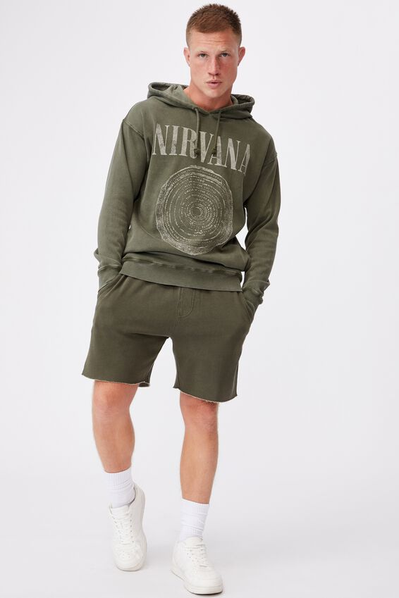 Premium Collab Fleece Pullover, LCN LIV ACID WASH KHAKI/NIRVANA CIRCLE