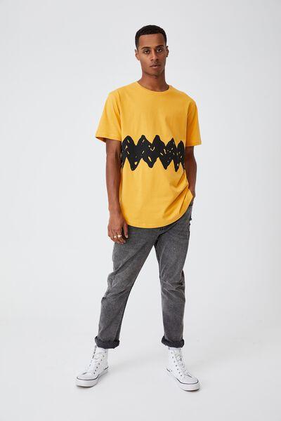 Longline Scoop Lounge T-Shirt, LCN PEA AGED YELLOW/PEANUTS - CHARLIE BROWN