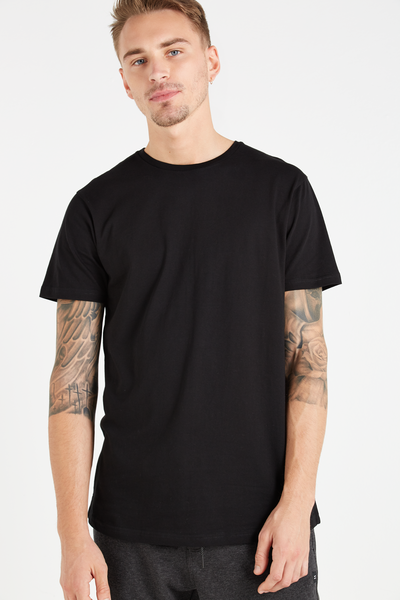 Longline Scoop Hem Tee, BLACK