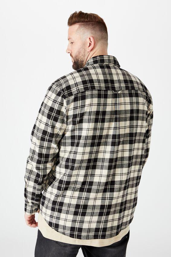 Bg Rugged Long Sleeve Shirt, BLACK WHITE CHECK